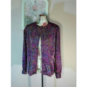 🆕Vtg 80s Peacock Paisley Top